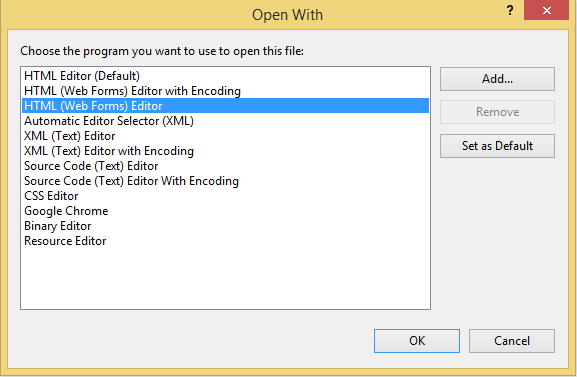 Visual Studio's Open With dialog